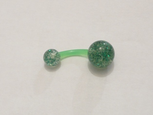 PIERCING NOMBRIL FLEX GLITTER PAILLETTES VERT