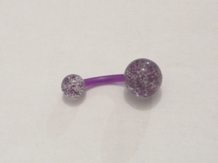 PIERCING NOMBRIL FLEX GLITTER PAILLETTES VIOLET
